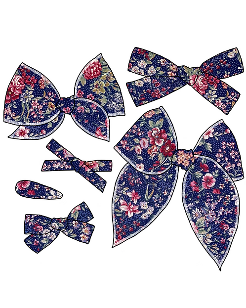 *Wholesale* Willa   Navy Floral Hair Bows