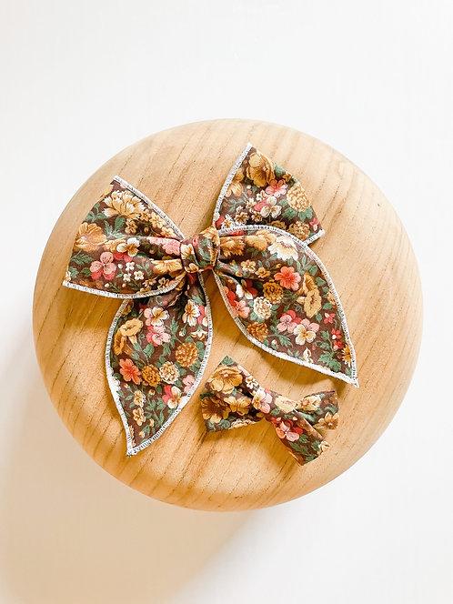 LTD Persephone   Brown Floral Hair Bows