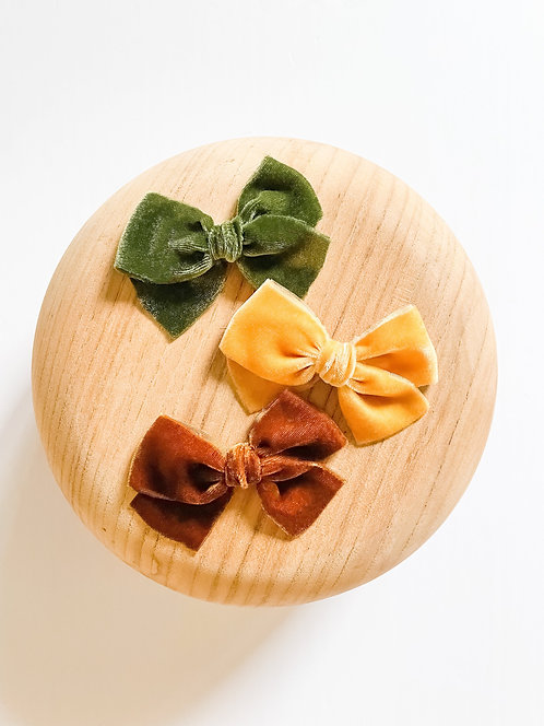 Autumn Raw Silk Velvet Bows