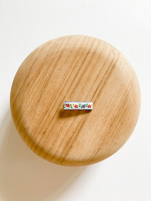 Jenny   Embroidered Ribbon Bar Clip