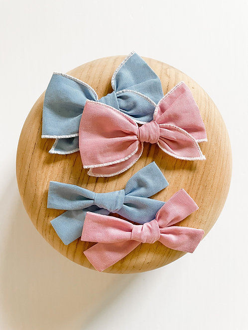 Cotton Candy Bow Set | Solid Color Fabric Bows