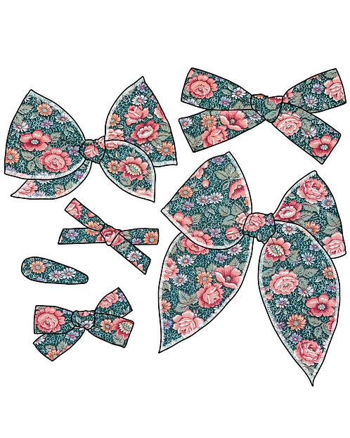 *Wholesale* Heather | Green Floral Hair Bows