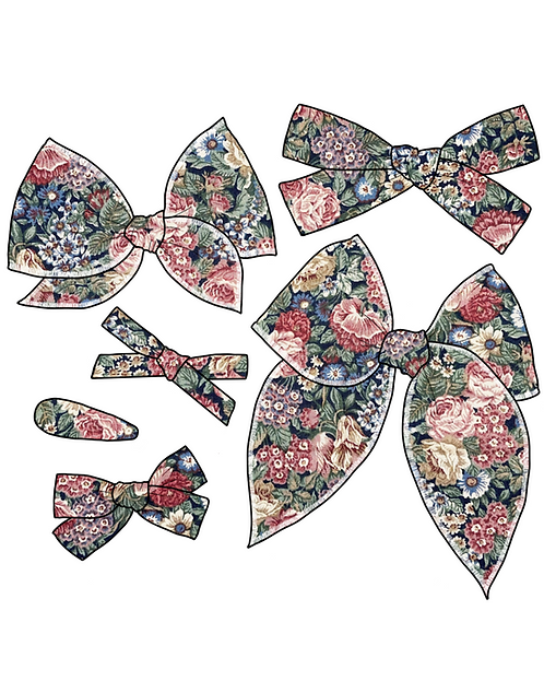 Fiona | Muted Floral Hair Bows