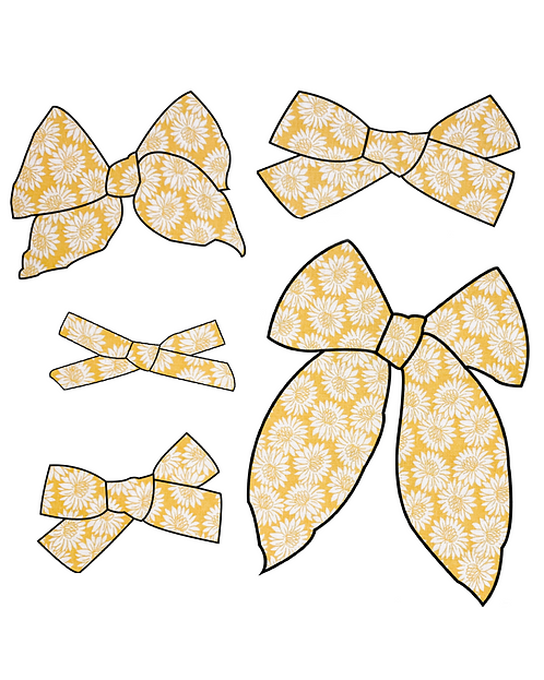 Summer | Yellow Floral Hair Bows