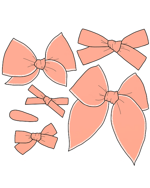 Apricot   Peach Pink Solid Bows