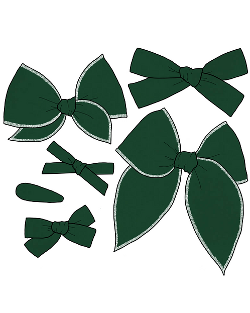 *Wholesale* Evergreen | Dark Green Solid Bows