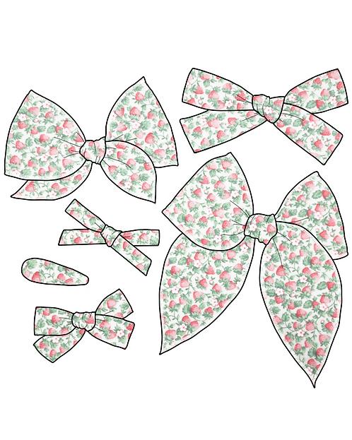 *Wholesale* Jewel | Vintage Strawberry Print Bow