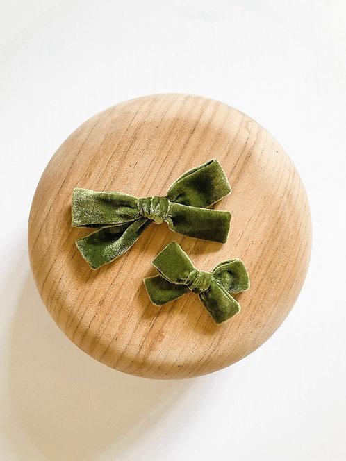 Olive Silk Velvet Hair Bows