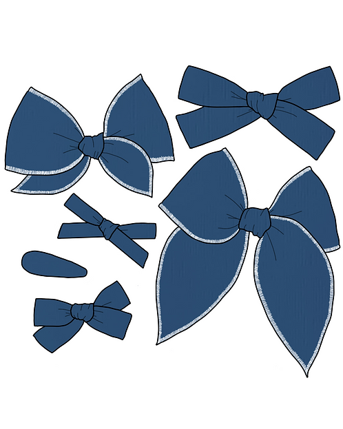 *Wholesale* Blueberry | Dark Blue Solid Bows
