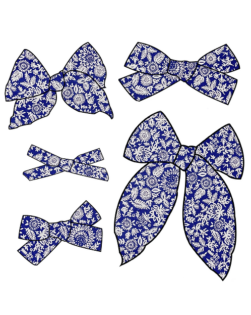 Liberty   Whimsical Blue Floral Bows