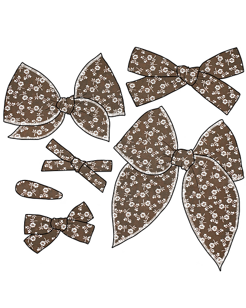 Mary | Brown Floral Hair Bows