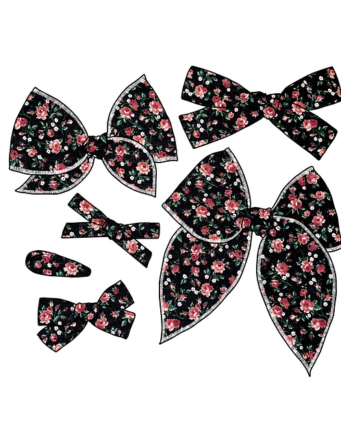 Darcy   Black Floral Fabric Bows