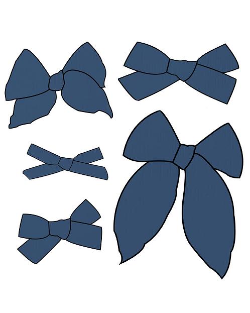 Blueberry   Dark Blue Solid Bows