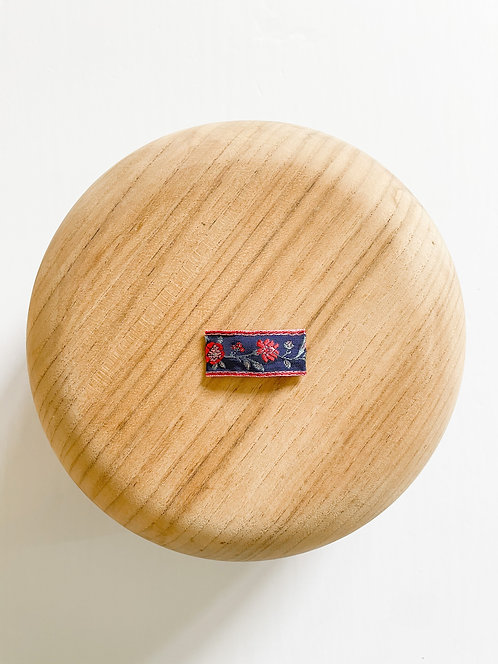 Patriotic Floral Snap Clip | Vintage Embroidered Ribbon Clip