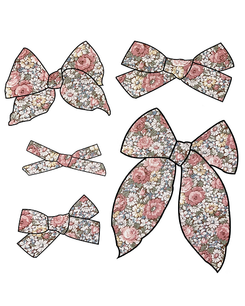 Eliana | Pink Floral Hair Bows