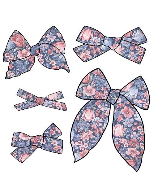 Tula | Navy Floral Hair Bows