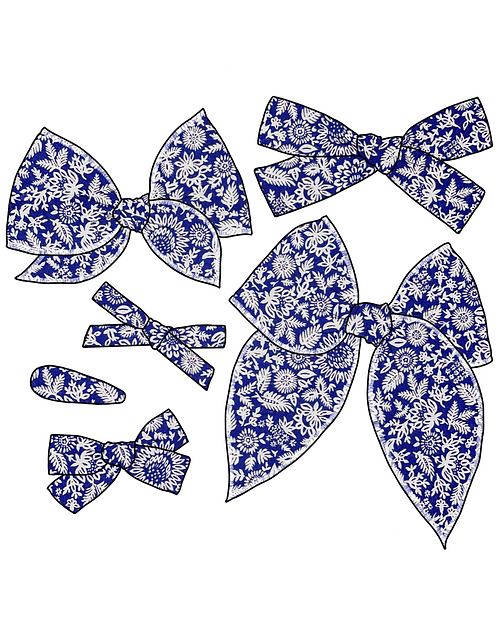 *Wholesale* Liberty | Whimsical Blue Floral Bows