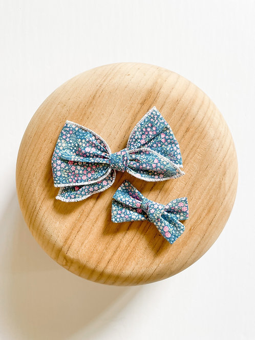 LTD Hadley | Blue Floral Hair Bows