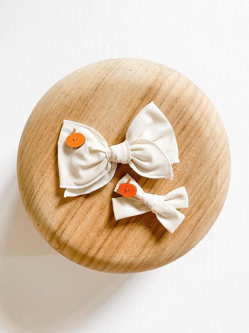 LTD Pumpkin Button   Autumn Fabric Bows