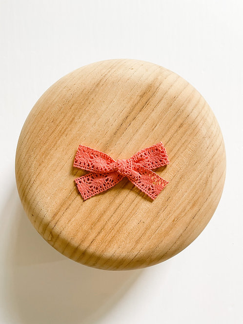 Coral | Pink Crochet Hair Bow