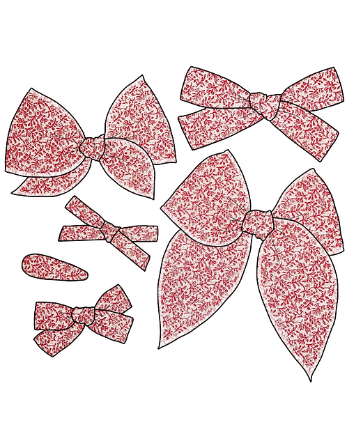 Grace   Red Floral Fabric Bows