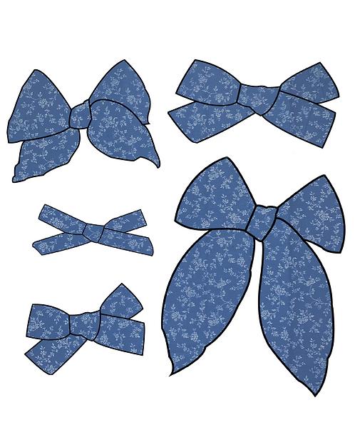 Zara   Navy Floral Hair Bows