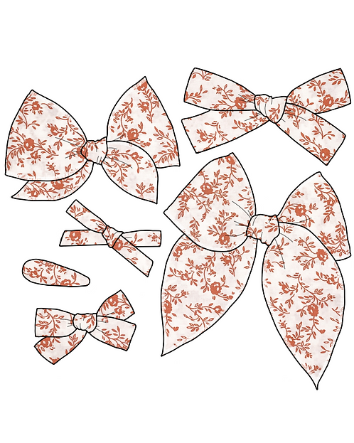 *Wholesale* Winifred | Orange Floral Hair Bows