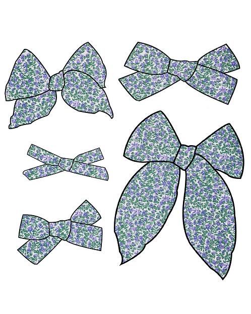 April | Purple Floral Hair Bows
