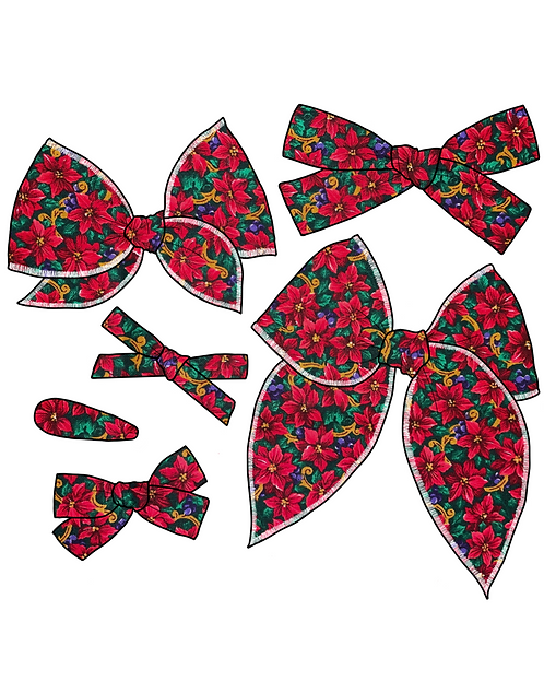 Merry | Red Poinsettia Christmas Bows