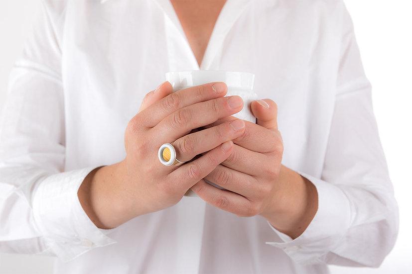 Bague ajustable en argent | Jaune d'or | Paille & Porcelaine