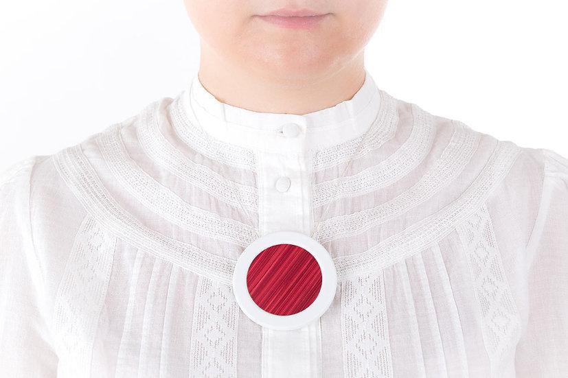 L'Atelier du Blanc - Sautoir pendentif rond Rose Fuchsia | Paille & Porcelaine