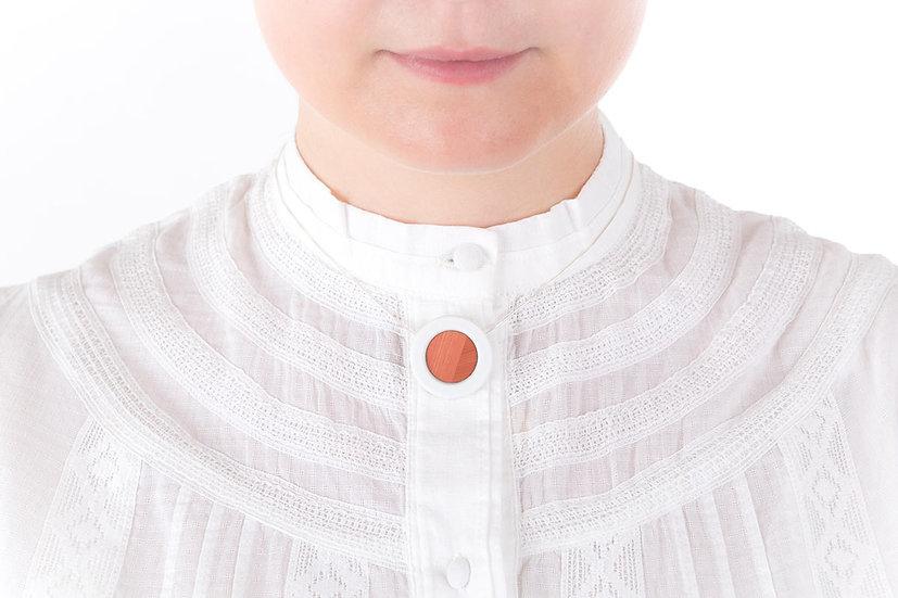 L'Atelier du Blanc - Collier petit pendentif Rose poudré   Paille & Porcelaine