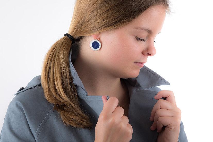 L'Atelier du Blanc - Boucles d'oreilles Dormeuse Bleu Marine