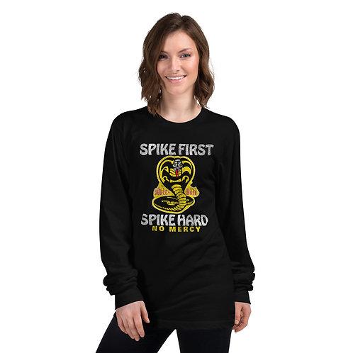 'Spike First, Spike Hard, No Mercy' (Volleyball) - Long sleeve t-shirt