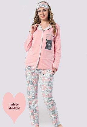 4x Ladies Buttoned Cotton PJ Set (S-M-L-XL)