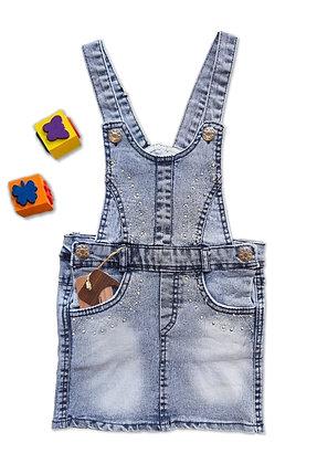 4 Pack Denim Dungaree Dress (5y-8y) - £4.30