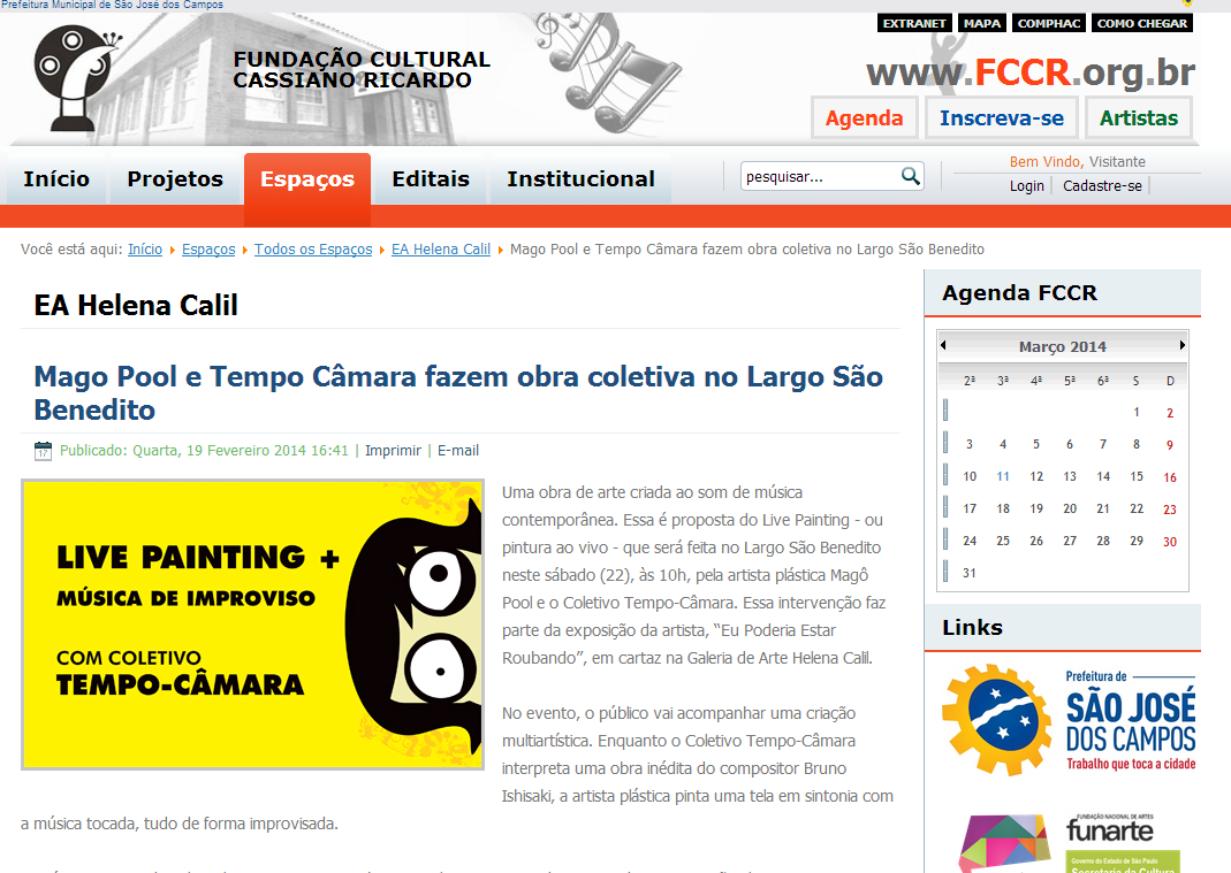Matéria no site Fundação Cultural