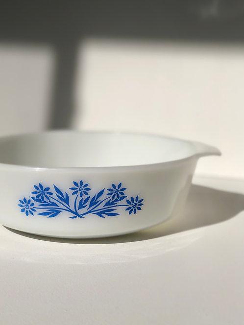 fire king milk glass 2 qt blue flower baking dish