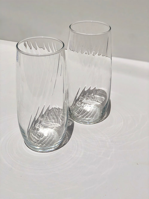 tall clear drinking glasses (set of 2)
