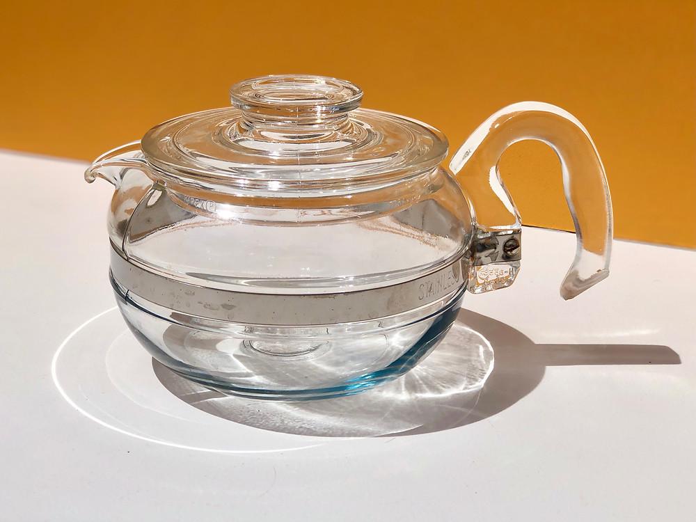 glass pyrex flameware teapot