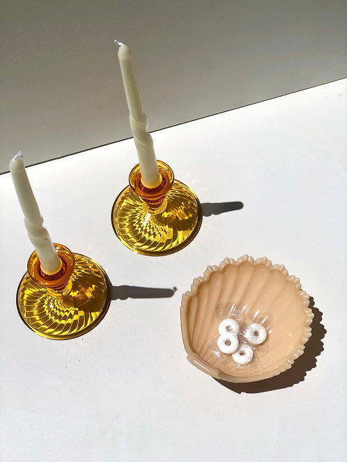 amber glass candleholders (set of 2)