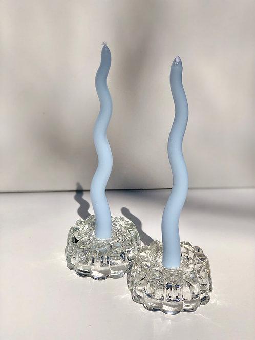 flower shaped glass candleholders (set of 2)