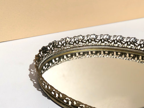 oval mirrored tray with metal edge
