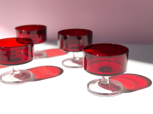 red luminarc coupe glasses (set of 5)