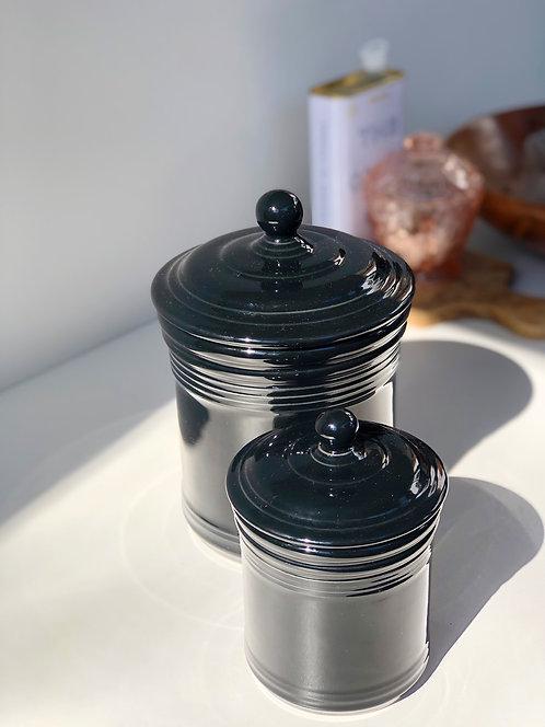 black ceramic canisters (set of 2)