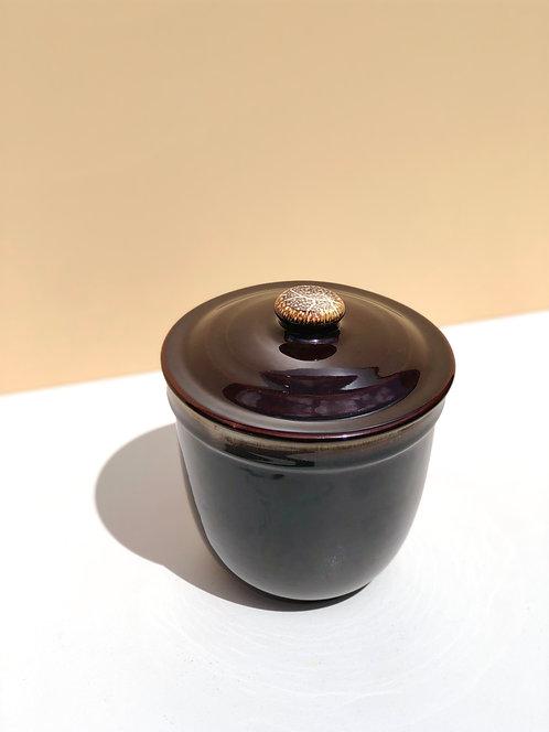 brown glazed ceramic jar with lid
