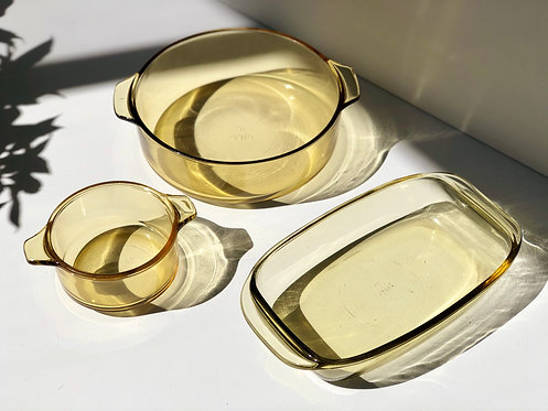 yellow glass pry-o-rey baking dishes