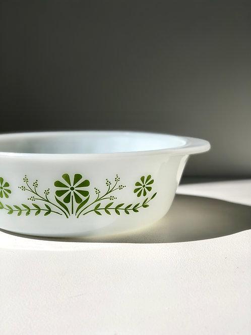 60's white + green round Jeanette Glasbake