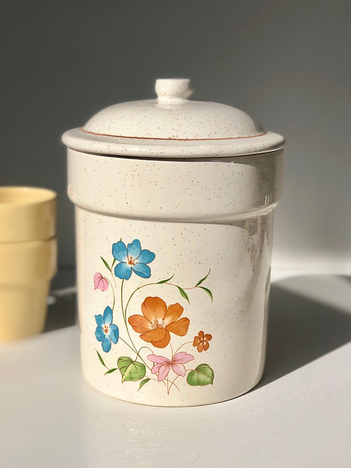 ceramic canister with flowers