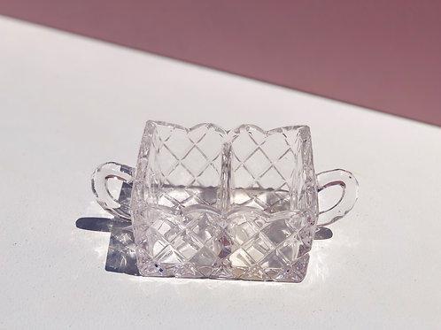 divided cut glass holder